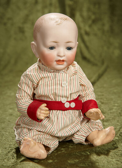 "11"" German bisque character, model 151, by Hertel and Schwab with antique romper suit. $200/300"