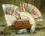 French accessories for large bebes including rare early aqua kidskin shoes, fans. $300/400