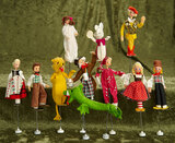 Ten German cloth puppets by BAPS including storybook characters. $300/400