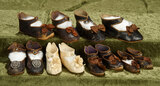 Six pairs of antique French doll shoes. $500/700