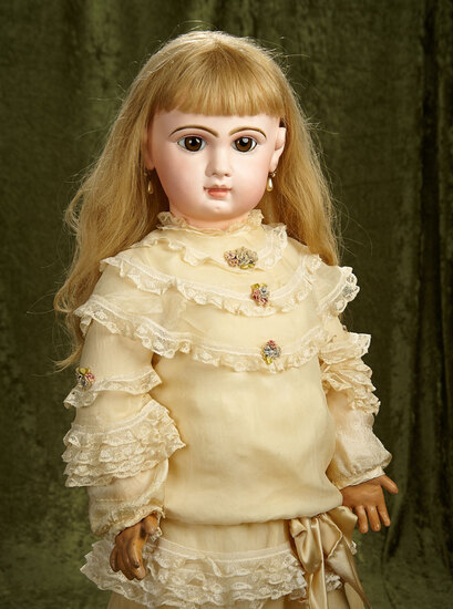"""34"""" French bisque closed mouth bebe, size 16, by Emile Jumeau with original body. $4800/5500"""