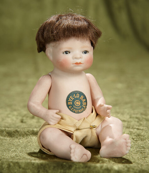 """7"""" German all-bisque Bye-Lo Baby, rare variation, with original paper label. $500/700"""