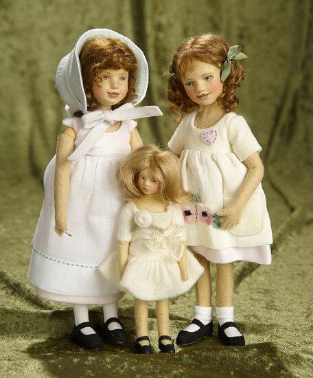 "3""-10"", Trio of American felt artist dolls by Maggie Iacono in original costumes. $600/900"