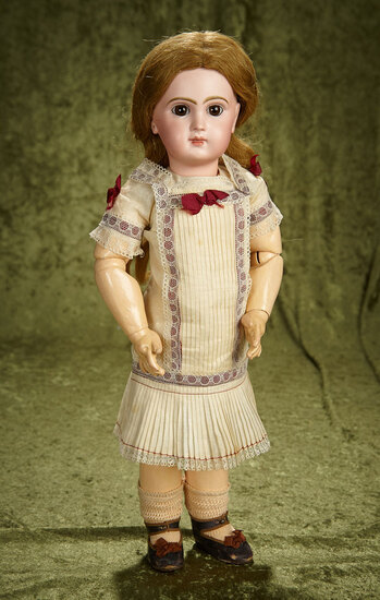 """19"""" French bisque Bebe Jumeau, size 8, signed body, orig chemise, signed shoes. $3200/3600"""
