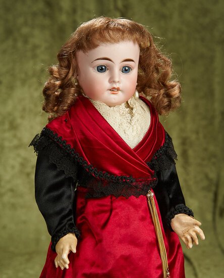 "20"" French bisque doll in superb original silk costume of the region of Arles France. $800/1100"