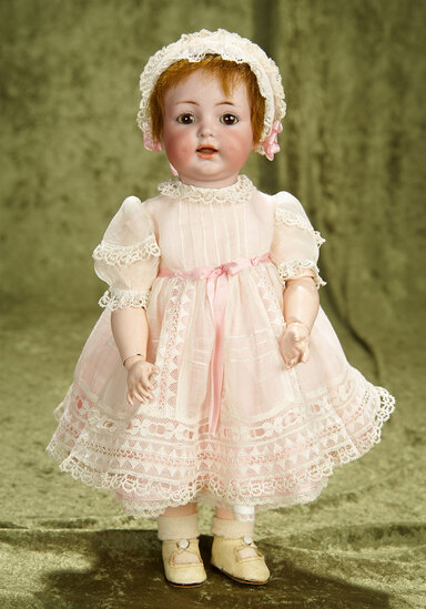 "13"" German bisque toddler, 122, Kammer and Reinhardt,wonderful dimples and costume. $400/500"