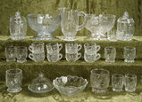 Lot of rare antique doll's glassware with embossed nursery rhyme themes. $500/700
