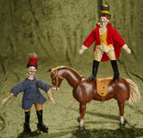 Two bisque head circus performers, carved wooden glass-eyed horse, Schoenhut circus. $600/800