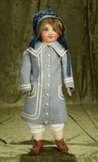 "27"" American Folk Art Oil-Painted Doll with Fine Antique Costume. $900/1300"