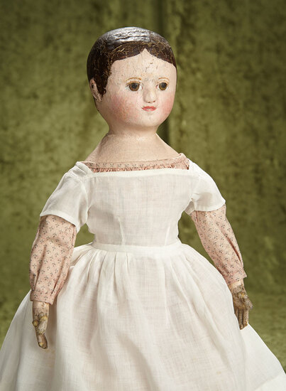 "20"" Rare American brown-eyed cloth doll by Izannah Walker. $6000/8000"