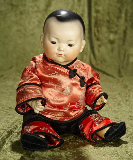 "15"" German amber-complexioned bisque Asian child, ""Ellar"", by Marseille. $600/800"