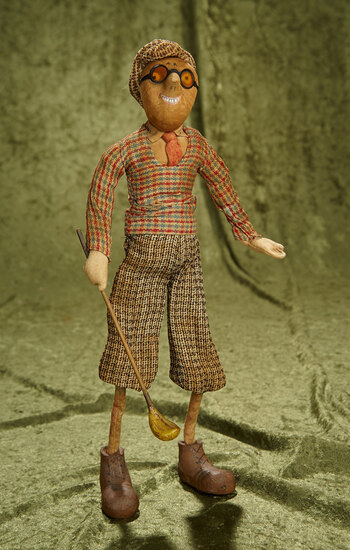 "15"" German stockinette character doll ""The Golfer"" from Kammer and Reinhardt. $400/500"