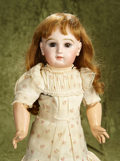 "20"" French bisque brown-eyed Bebe by Emile Jumeau, orig chemise, rare applied ears. $3000/3800"