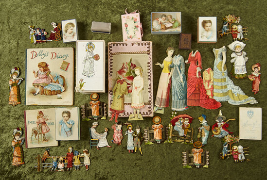 Wonderful group of children's books, paper dolls, miniature harmonica. $300/400