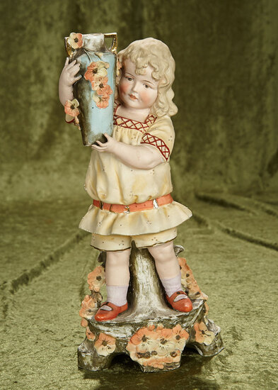 "16"" German bisque figurine ""Young Girl Holding Vase"", inscribed 10686. $300/400"