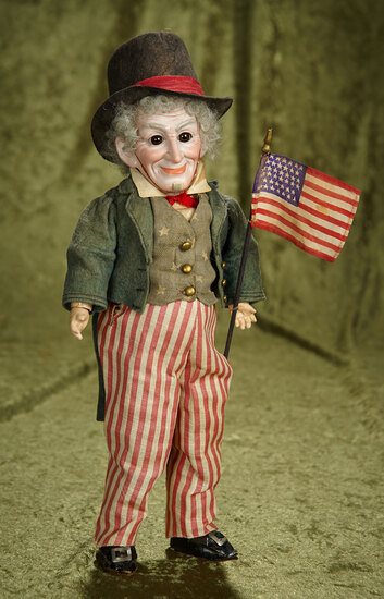 """13"""" German bisque """"Uncle Sam"""" by Cuno and Otto Dressel in original factory costume. $1200/1500"""
