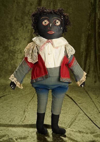 """22"""" American black cloth folk doll with black fleecy yarn curly hair, original costume. $400/600"""