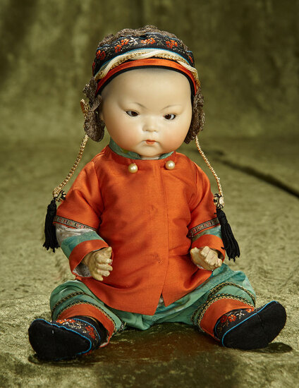 """13"""" German amber-complexioned bisque Chinese baby by Marseille. $500/700"""