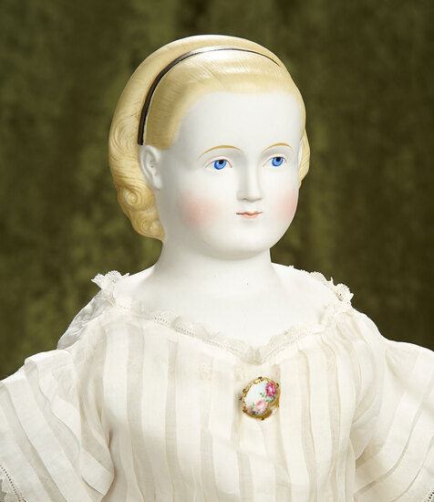 """29"""" German bisque doll with sculpted hair known as """"Alice in Wonderland"""". $800/1200"""