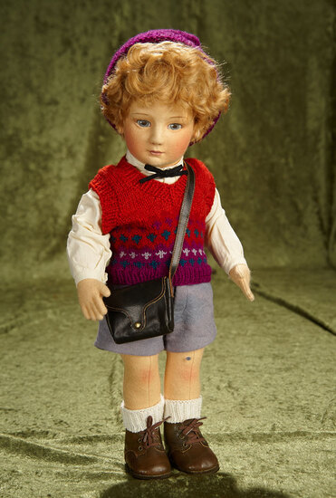 "17"" American felt artist doll ""Scott"" by R. John Wright from Little Children Series. $800/900"