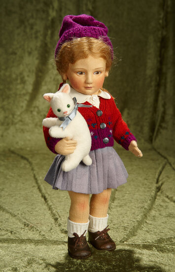 "17"" American felt artist doll ""Lisat"" by R. John Wright from Little Children Series. $800/900"