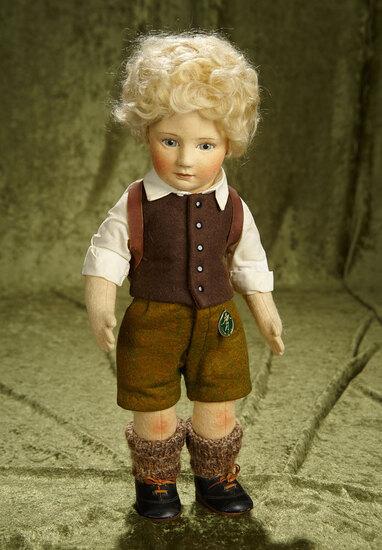 "17"" American felt artist doll ""Peter"" by R. John Wright from Little Children Series. $800/900"