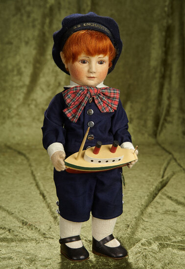 "17"" American felt artist doll ""Captain Corey"",R. John Wright ,Rare #1 from series of 50. $1100/1400"