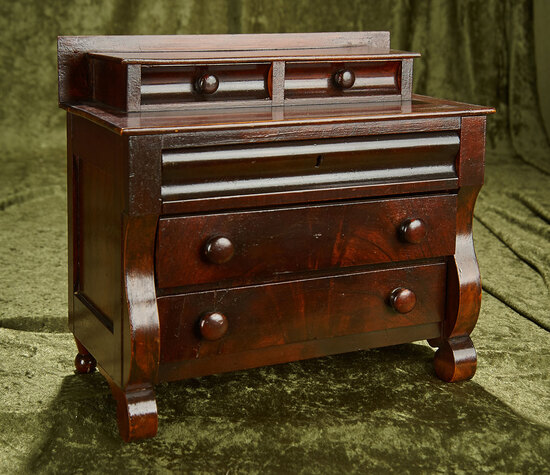 "11""h. Early American mahogany chest with fine original finish. $400/600"