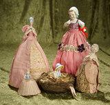 Five German porcelain half-dolls in original  presentation. $400/500