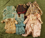 Five various early silk doll costumes seeking restoration. $200/300