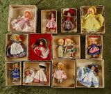 Twelve early Nancy Ann Storybook Dolls in original boxes. $300/500
