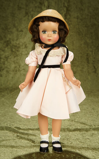 "18"" Brunette ""Maggie"" in original pale rose taffeta dress. $400/600"