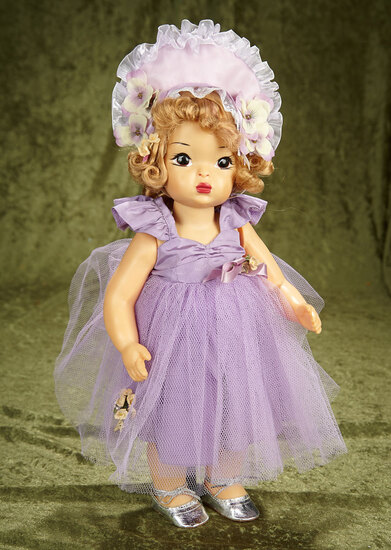 "16"" Terri Lee in Rare Lavender Costume with Pansy-Trimmed Bonnet. $400/500"