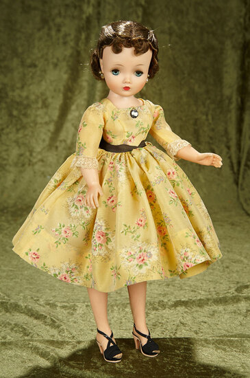 "20"" Brunette Cissy by Alexander in yellow taffeta dress. $800/1000"