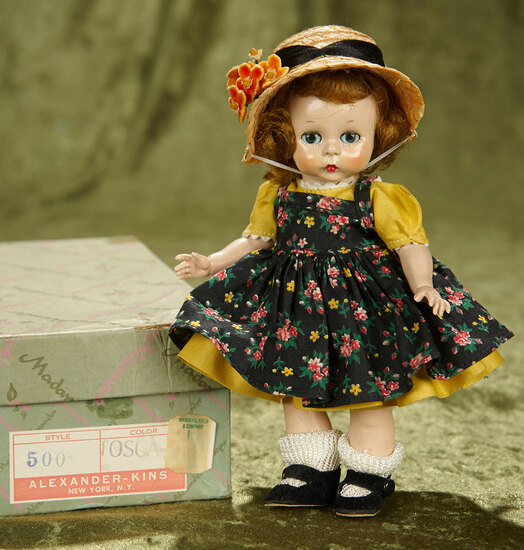 "8"" Tosca-haired Wendy-Kins in Yellow Dress with Flowered Pinafore by Alexander. $400/500"