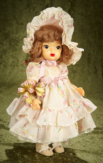 "16"" Brown-haired Terri Lee in rare garden party costume. $400/500"