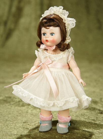 "8"" Brunette Alexander-Kins in White Organdy Dress and Bonnet. $400/500"