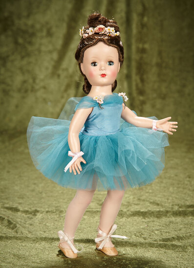"15"" Brunette ""Margot Ballerina"" in Rare Teal Blue Tutu by Alexander. $400/500"