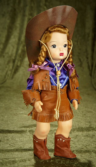 "16"" Tosca-haired Terri Lee in cowgirl costume with purple shirt. $400/500"