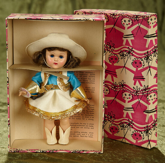 "8"" Brunette Ginny in cowboy costume, original box, by Vogue. $400/500"