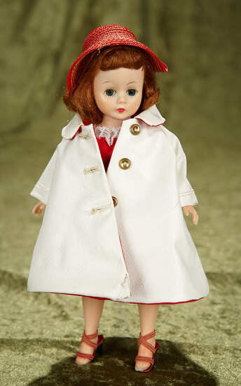 Auburn Cissette in Red Cotton Dress and Red-Lined White Vinyl Coat. $300/400