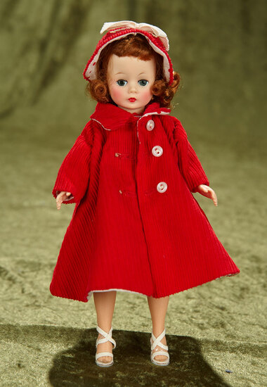 "10"" Auburn-haired Cissette in Polka Dot Dress and Reversible Corduroy Coat. $400/500"