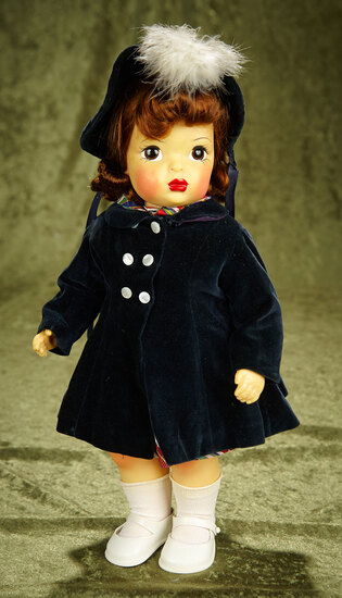 "Rare 16"" Brunette Terri Lee, Pat Pending Model, in Black Velvet Ensemble. $400/500"
