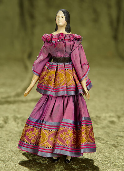 """7 1/2"""" German paper mache lady doll known as """"milliner's model"""". $400/500"""