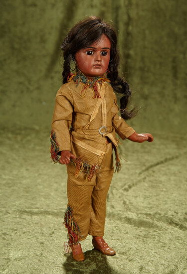 """14"""" Sonneberg bisque portrait of Native American, model 244, by Bahr and Proschild. $600/800"""