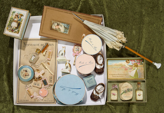 Wonderful collection of antique doll accessories, shoes, parasol. $600/900