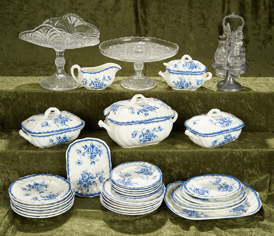 English Blue and white softpaste doll dishes and glass tableware accessories. $300/500