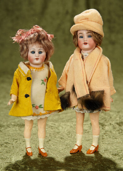 """9"""" & 10"""" German bisque flapper girls by Simon & Halbig in factory original costumes. $500/750"""