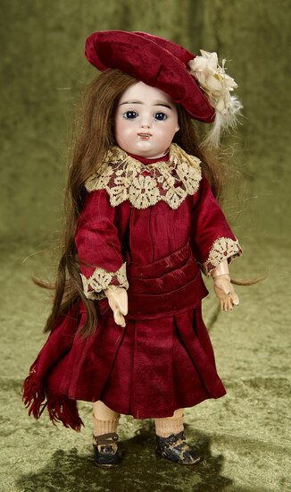 """14"""" Petite French bisque bebe by Gaultier in lovely antique burgundy silk costume. $1400/1600"""