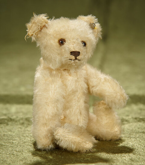 "6"" German miniature white teddy by Steiff, US Zone. $400/500"